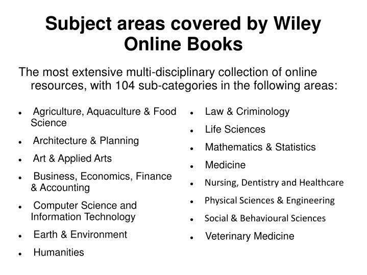 Subject areas covered by Wiley Online Books