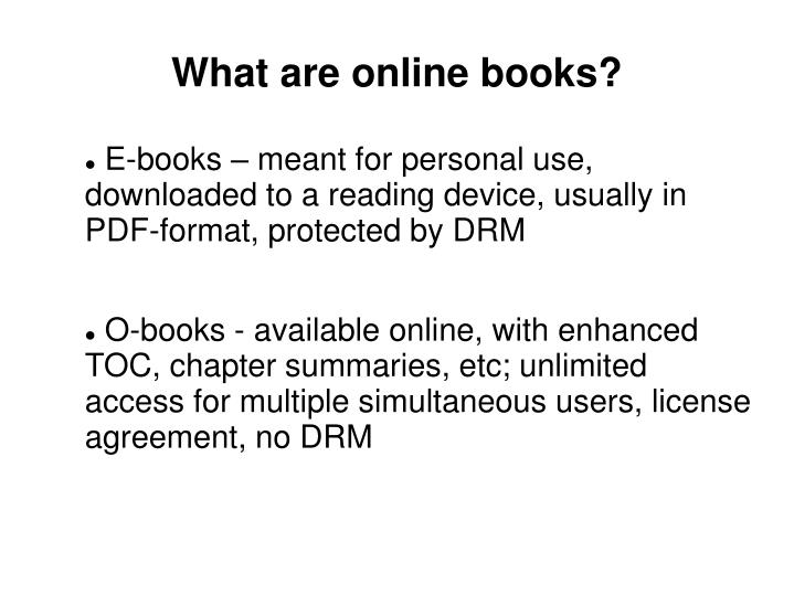 What are online books?