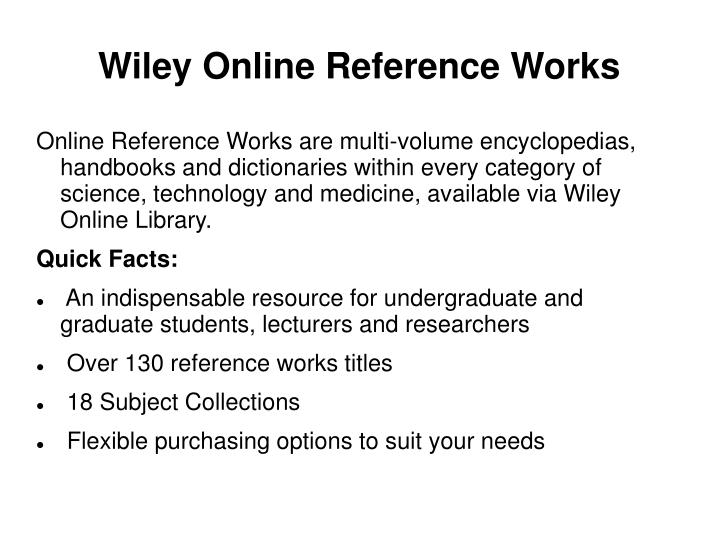 Wiley Online Reference Works