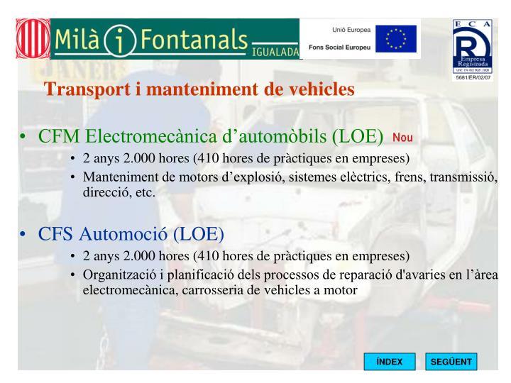 Transport i manteniment de vehicles