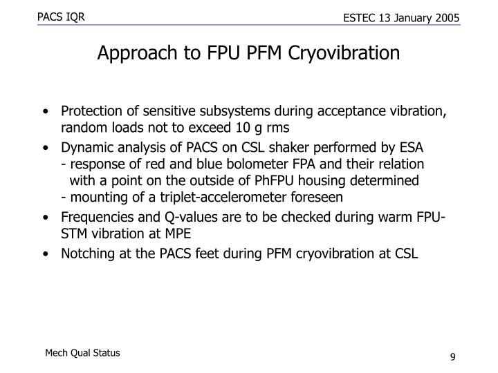 Approach to FPU PFM Cryovibration