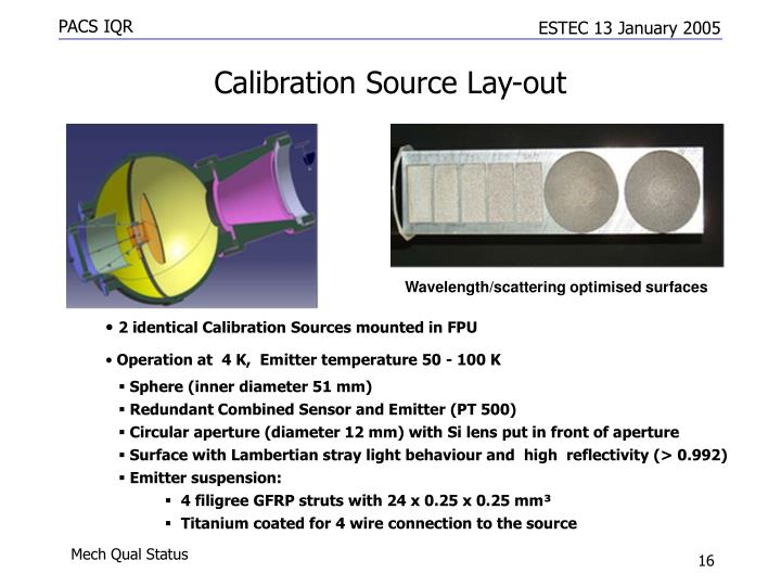 Calibration Source Lay-out