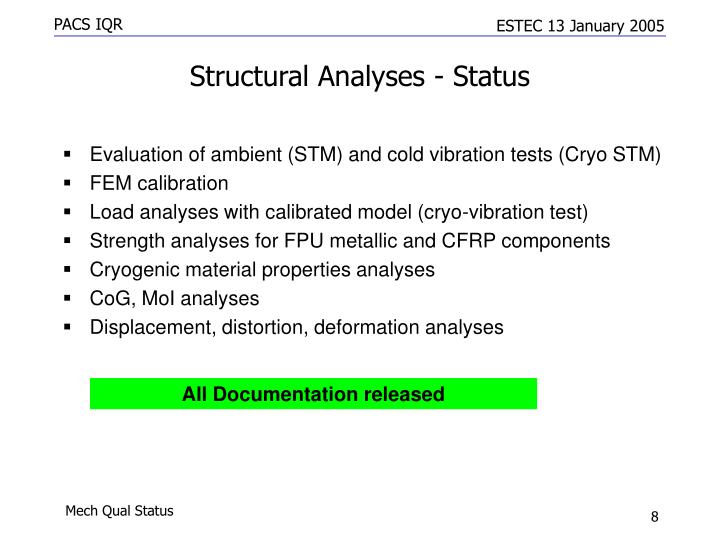 Structural Analyses - Status