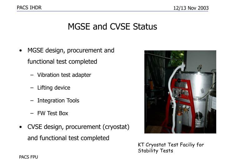 MGSE and CVSE Status