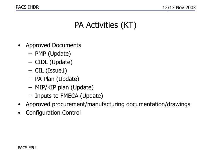 PA Activities (KT)