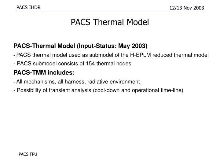 PACS Thermal Model