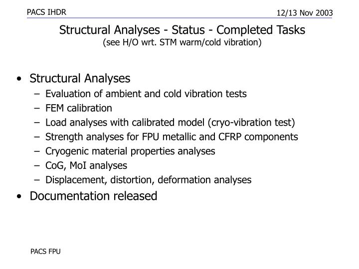 Structural Analyses - Status - Completed Tasks