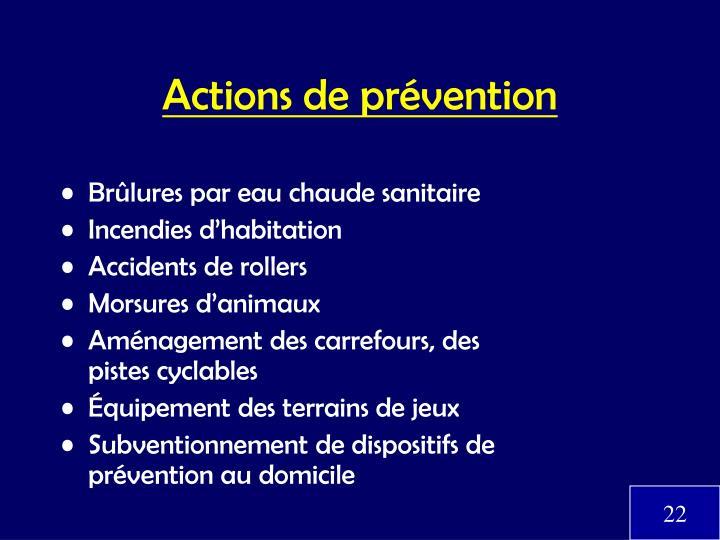 Actions de prévention