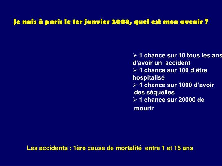 Je nais à paris le 1er janvier 2008, quel est mon avenir ?