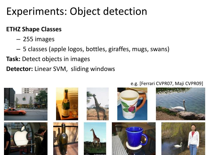 Experiments: Object detection