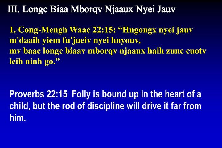 III. Longc Biaa Mborqv Njaaux Nyei Jauv