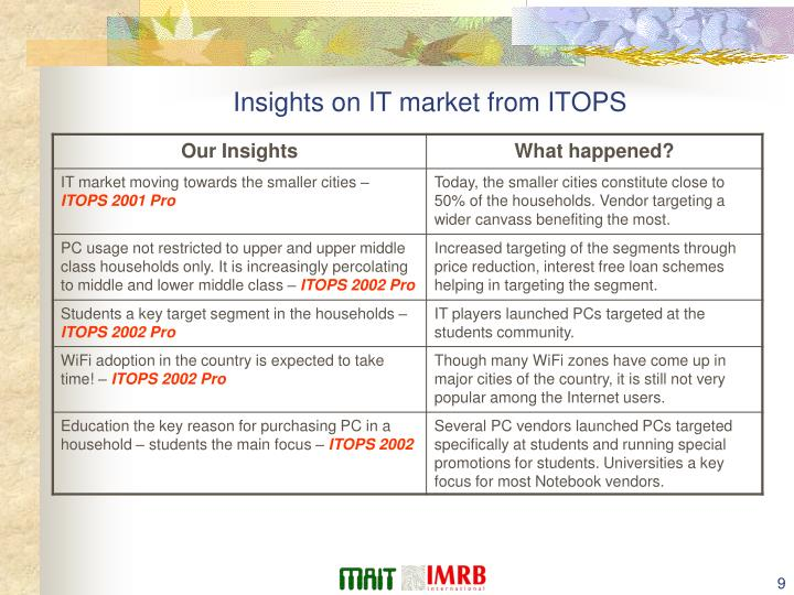 Insights on IT market from ITOPS