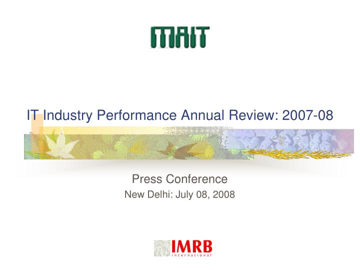 it industry performance annual review 2007 08