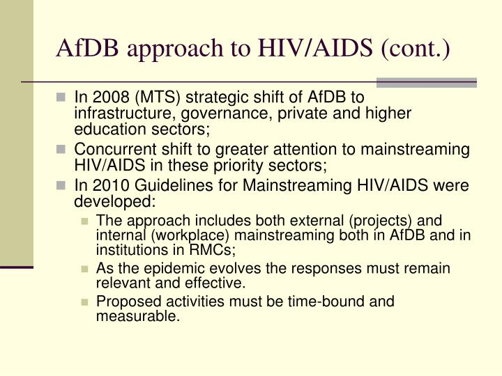 AfDB approach to HIV/AIDS (cont.)