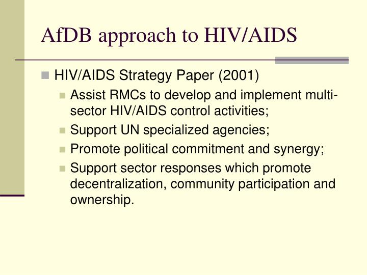AfDB approach to HIV/AIDS