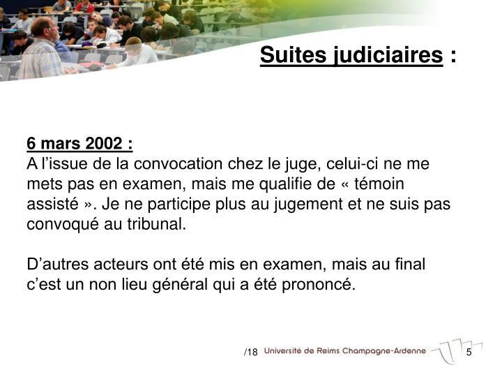 Suites judiciaires