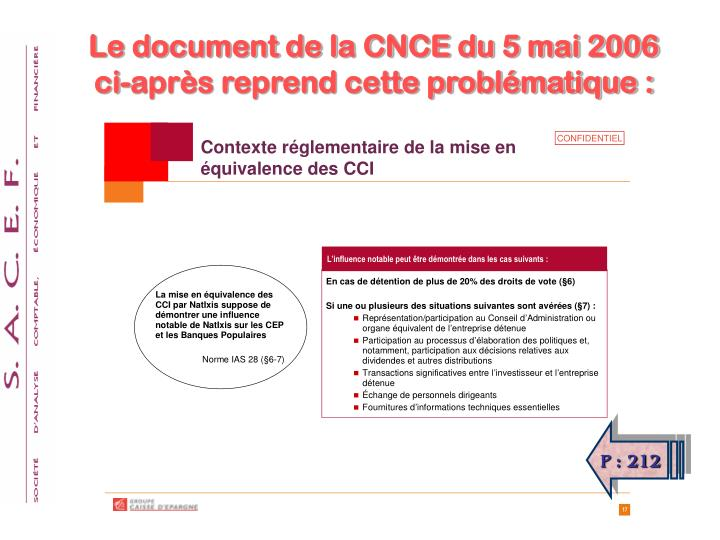 Le document de la CNCE du 5 mai 2006