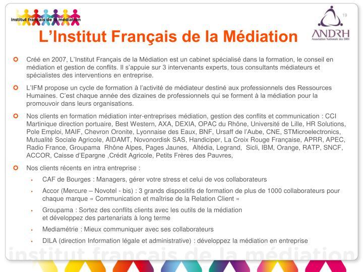 L'Institut Français de la Médiation