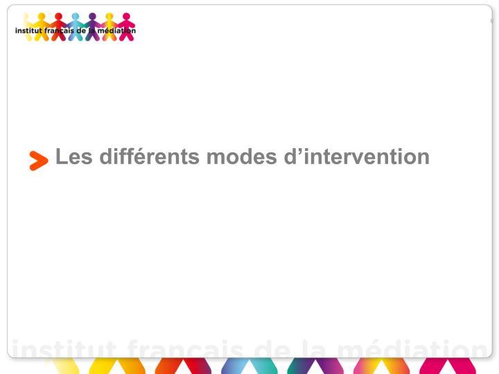 Les différents modes d'intervention