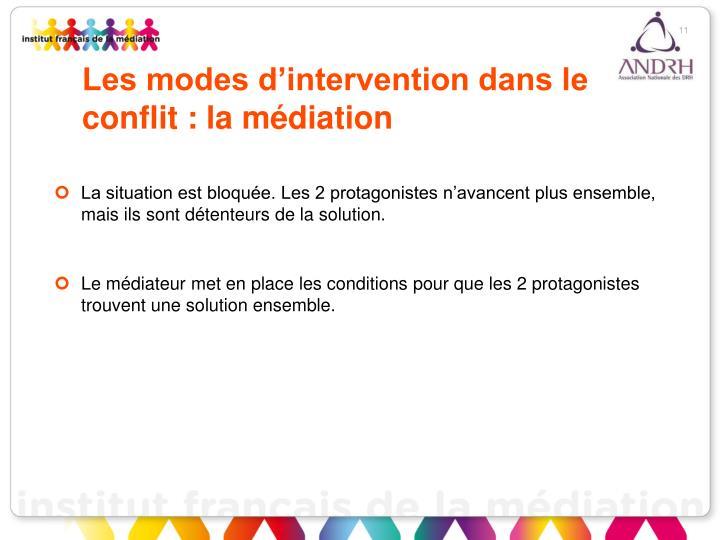 Les modes d'intervention dans le conflit : la médiation