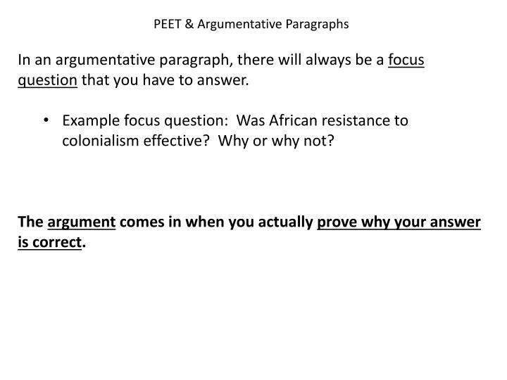 PEET & Argumentative Paragraphs