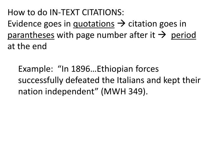 How to do IN-TEXT CITATIONS: