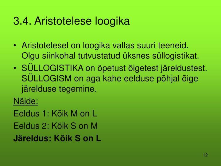3.4. Aristotelese loogika
