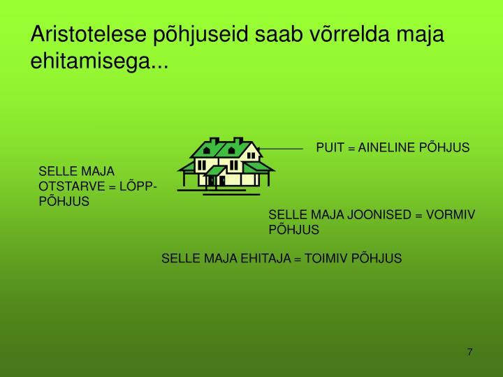 Aristotelese põhjuseid saab võrrelda maja ehitamisega...