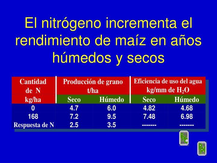 El nitrógeno incrementa el rendimiento de maíz en años húmedos y secos
