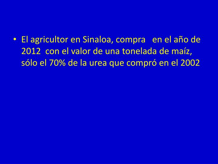 El agricultor en Sinaloa, compra   en el año de 2012  con el valor de una tonelada de maíz, sólo el 70% de la urea que compró en el 2002