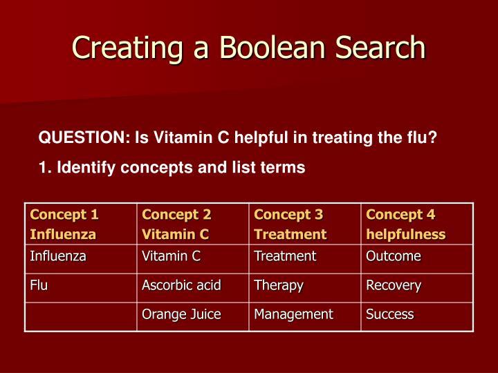Creating a Boolean Search