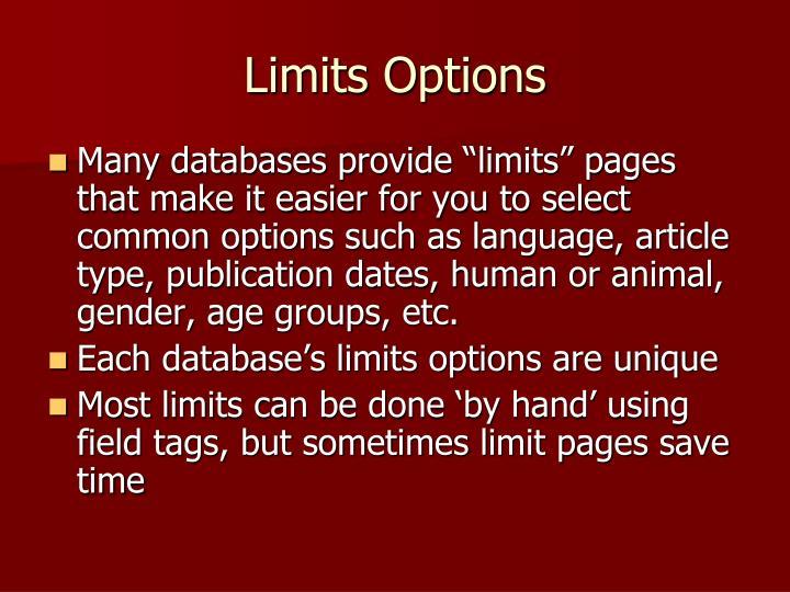 Limits Options