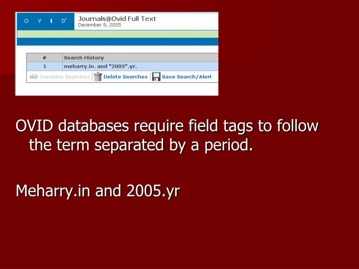 OVID databases require field tags to follow the term separated by a period.