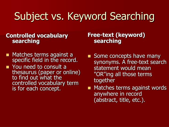 Controlled vocabulary searching