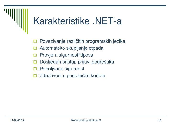 Karakteristike .NET-a
