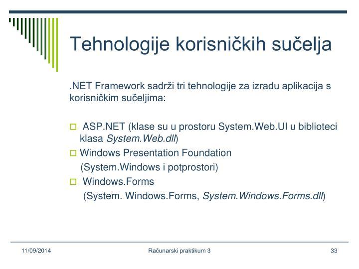 Tehnologije korisničkih sučelja