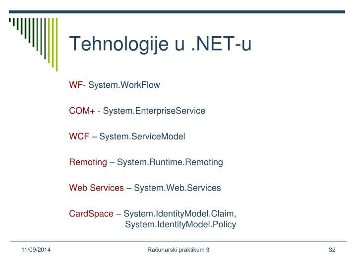 Tehnologije u .NET-u