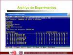 archivo de experimentos