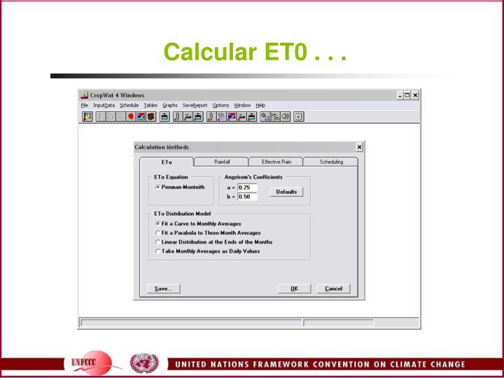 Calcular ET0 . . .