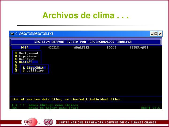 Archivos de clima . . .