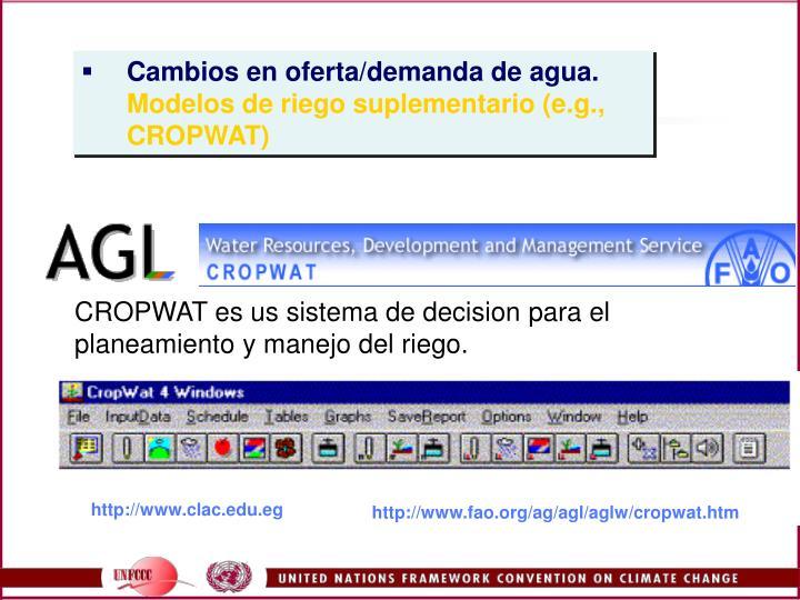 CROPWAT es us sistema de decision para el planeamiento y manejo del riego.