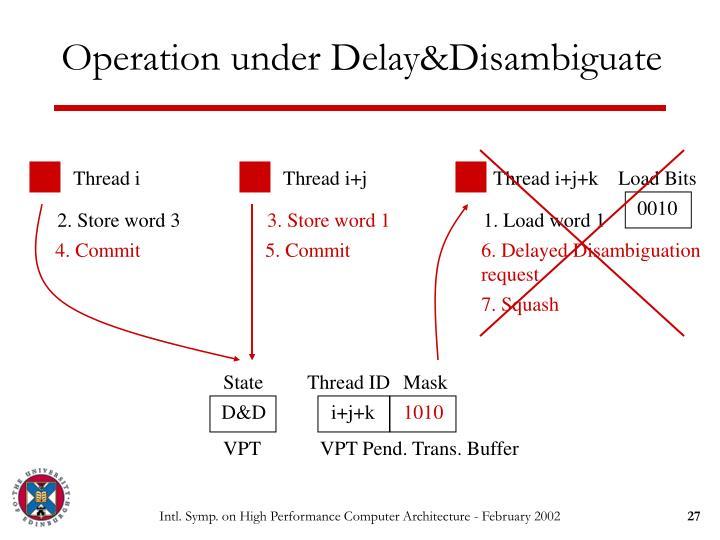 Operation under Delay&Disambiguate
