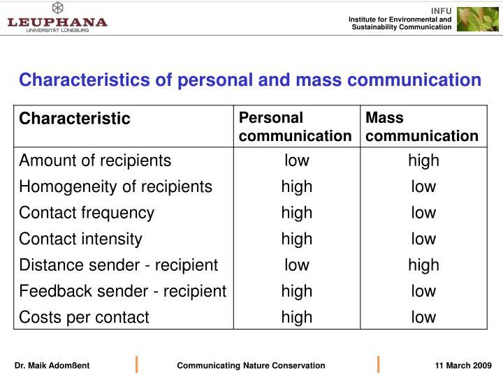 Characteristics of personal and mass communication