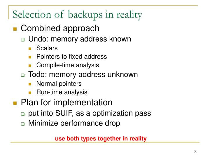 Selection of backups in reality