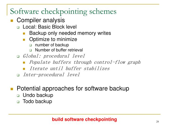 Software checkpointing schemes