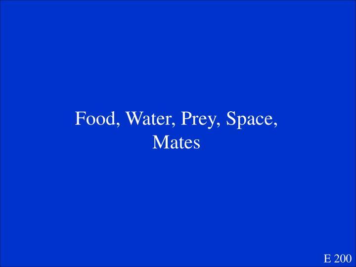 Food, Water, Prey, Space, Mates