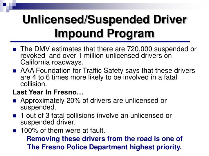 Unlicensed/Suspended Driver Impound Program