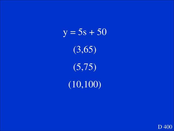 y = 5s + 50