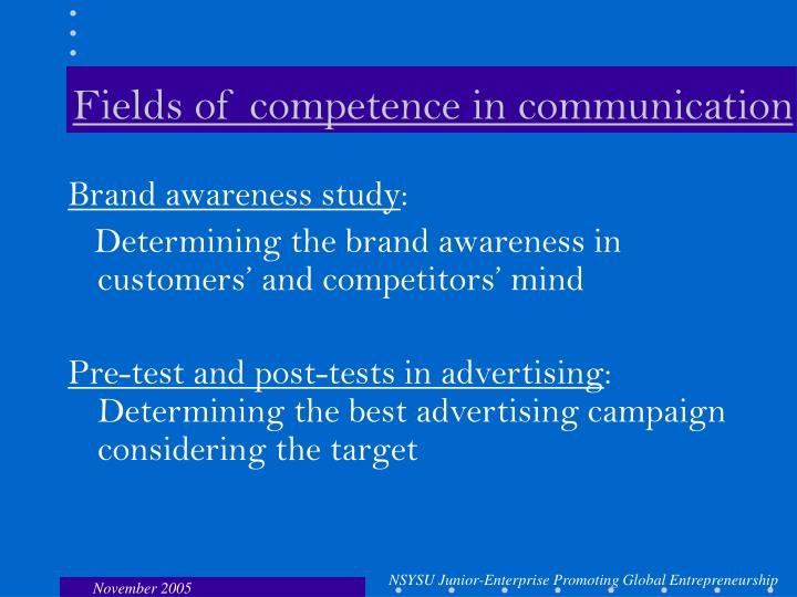 Fields of competence in communication