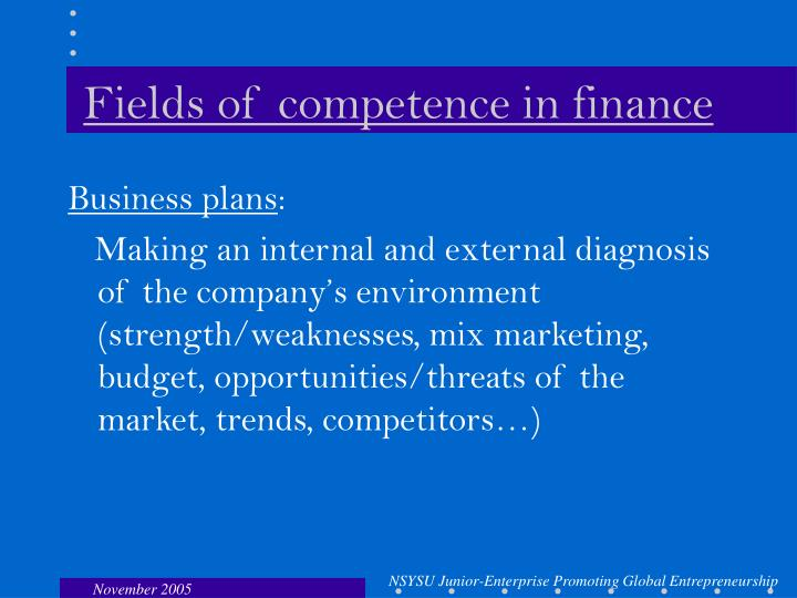 Fields of competence in finance